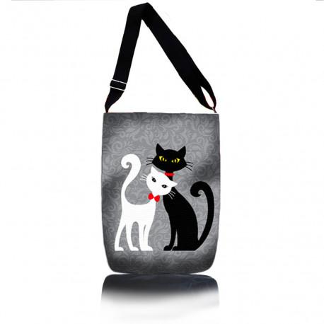 Čiernobiela mačacia kabelka
